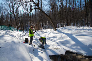 Two researchers in yellow safety vests stand in a winter stream scene collecting water from an open space in the ice.