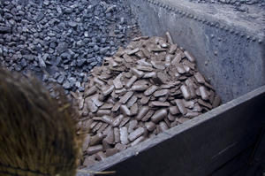 Fossil coal next to biocoal briquettes
