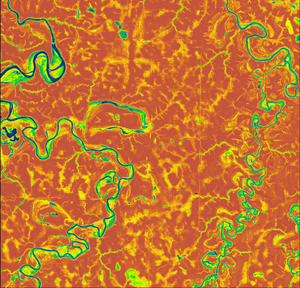 Computer-generated image of an aerial river landscape in bright colors.