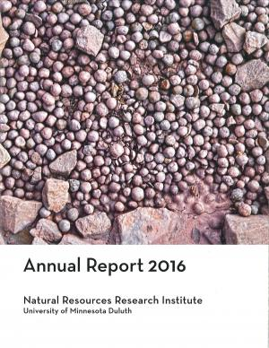 Annual Report cover feature image of taconite pellets on railroad bed