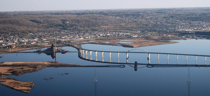 Arial view of Duluth-Superior harbor