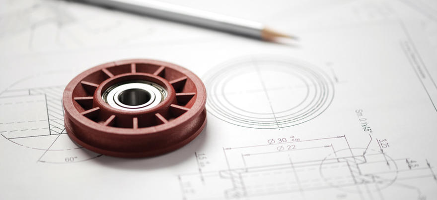 Prototype wheel with bearing on blueprints