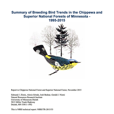 Report Cover: Summary of Breeding Bird Trends in the Chippewa and Superior National Forests of Minnesota