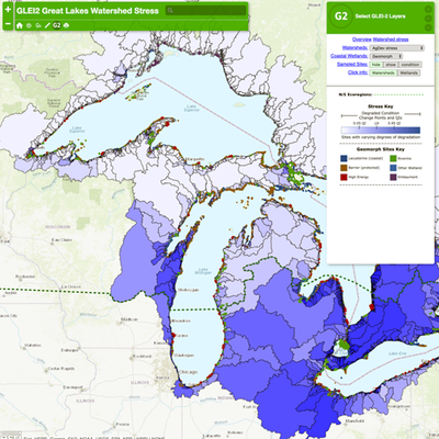 Map of the watersheds around the great lakes