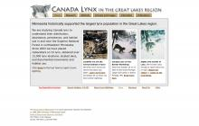 Website screenshot of Canada Lynx in the Great Lakes Region