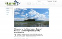 Screenshot of Great Lakes Coastal Wetland Monitoring website