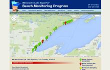 Screenshot of Minnesota Lake Superior Beach Monitoring Program website