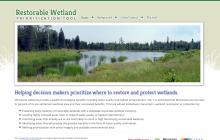 Screenshot of Restorable Wetland Prioritization Tool website