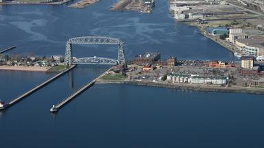 Arial view of Duluth harbor and lift bridge