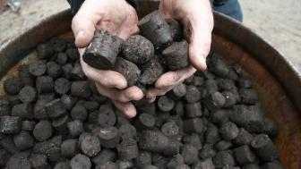 Close up of two hands scooping two handfuls of brown material shaped into balls