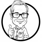 Black and white hand-drawn caricature of man indicating a thumbs-up.